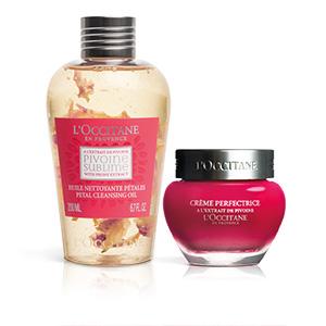 Pivoine-Duo Reinigungsöl mit Blütenblättern und Hautperfektionierende Gesichtscreme