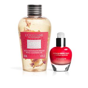 Pivoine-Duo Reinigungsöl mit Blütenblättern und Hautperfektionierendes Serum