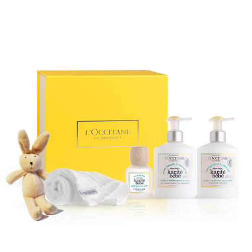 Karité Baby Pflege-Geschenkbox mit Kuscheltier