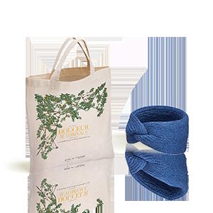L'Occitane X Balzac Paris Strick-Haarband Saphirblau mit Shoppingbeutel