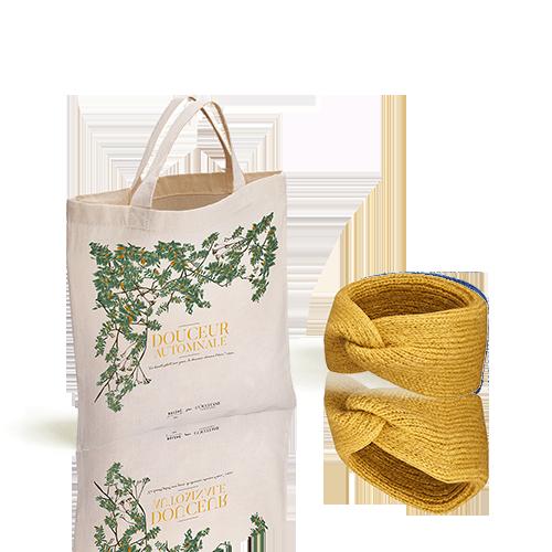 L'Occitane X Balzac Paris Strick-Haarband Goldgelb mit Shoppingbeutel