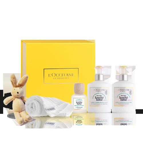 Shea Baby Pflege-Geschenkbox mit Kuscheltier