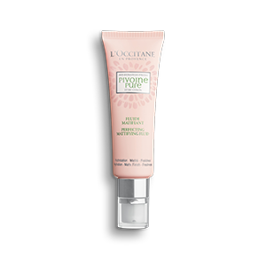 L'Occitane Peony Mattifying Perfecting Fluid, a mattifying moisturizer for sensitive acne prone and oily skin.