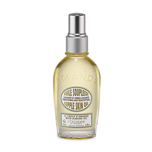 L'Occitane Almond Supple Skin Oil, an almond oil for skin to make skin feel supple and relaxed