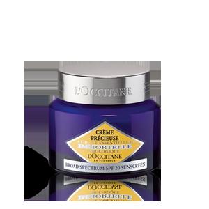 L'Occitane Precious Cream SPF 20, an anti-ageing moisturising light face cream with SPF sun protection