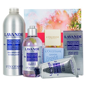 Christmas gift set with body care made of french lavender essential oil
