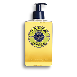 Detergent free liquid soap for dry & sensitive hands, with lemony verbena, nourishing shea butter and soothing aloe vera extract.