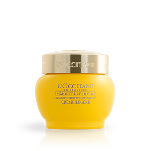 L'Occitane Divine Cream SPF 20, an anti-ageing moisturising light face cream with SPF sun protection