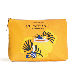 Illustrated Yellow Cosmetic Bag