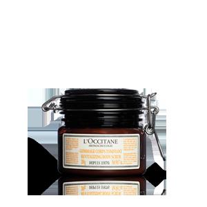 Jar of Aromachologie Revitalizing Body Scrub and skin exfoliant gently exfoliates for smoother skin.