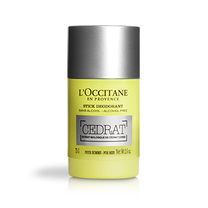 A free- aluminium deodorant with energizing scent of of Eau de Cedrat