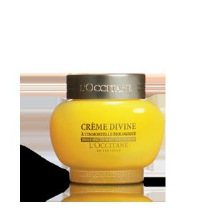 L'Occitane Divine Cream SPF 20, an anti-aging moisturizing light face cream with SPF sun protection