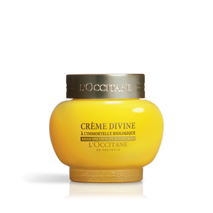 L'Occitane Divine Cream SPF 20, an anti-aging moisturizing light face cream with SPF sun protection