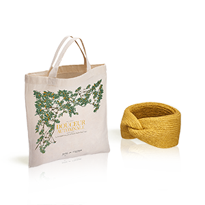 Le bandeau Cheveux L'Occitane X Balzac Paris couleur Moutarde et son totebag