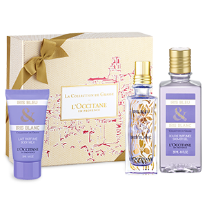 coffret cadeau parfum iris bleu et iris blanc l 39 occitane. Black Bedroom Furniture Sets. Home Design Ideas