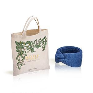 Le bandeau Cheveux L'Occitane X Balzac Paris couleur Denim et son totebag