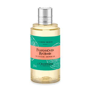 Bottle of Grapefruit Rhubarb Shower Gel, a gentle and citrus perfumed body wash that cleanses skin.