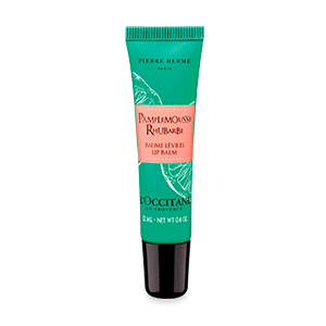 Tube of Grapefruit Rhubarb Lip Balm with a tangy citrus scent and shea butter that softens and protects lips.