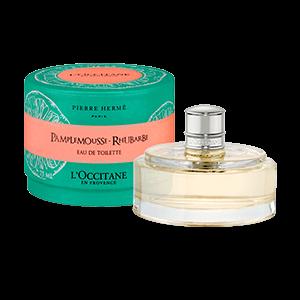 Bottle of Grapefruit Rhubarb Eau de Toilette perfume, a citrus and fruity fragrance.