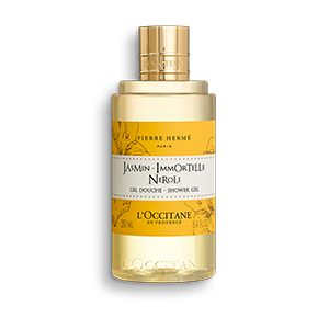 Translucent bottle of Jasmin Immortelle Neroli Shower Gel that cleanses and leaves skin perfumed.
