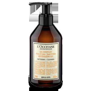 Botol Aromachologie Revitalizing Gel for Hands & Body, sabun gel yang membersihkan dan menyegarkan kulit.