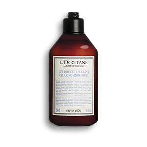 Bottle of Aromachologie Relaxing Shower Gel, a foaming body wash that gently cleanses skin.