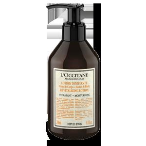 Botol Aromachologie Revitalizing Lotion for Hands & Body yang melembapkan dan menghidrasi agar kulit lembut.