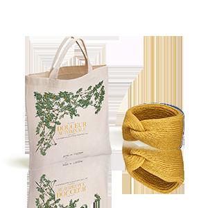 La Fascia Capelli L'Occitane X Balzac Paris colore Senape e la sua borsa