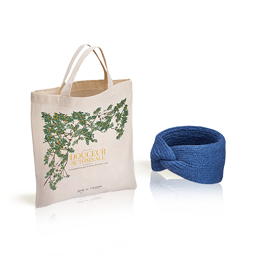 L'Occitane X Balzac Paris Haarband in denimkleur met totebag