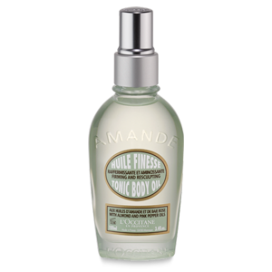 L'Occitane Almond Tonic Body Oil, an almond body oil for dry skin to achieve firmer-looking skin