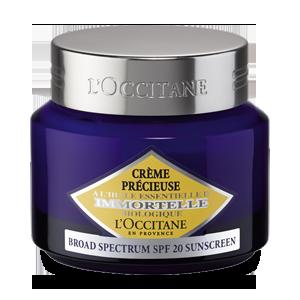 Crema Precious SPF 20, de L'Occitane. O Crema antirid cu protectie solara, care protejeaza tenul zilnic impotriva razelor UV.