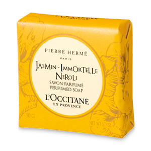 Bar soap of Jasmin Immortelle Neroli Perfumed Soap cleanses skin and leaves skin perfumed.