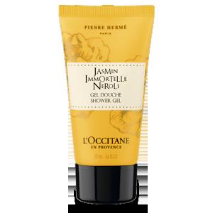 Translucent bottle of Jasmin Immortelle Neroli Shower Gel that cleanses and leaves skin perfumed.