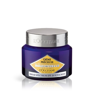 L'Occitane Precious Cream SPF 20, an anti-aging moisturizing light face cream with SPF sun protection