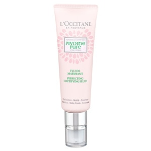L'Occitane Peony Mattifying Perfecting Fluid, a mattifying moisturizer for sensitive acne prone and oily skin