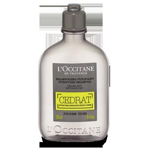 Samponul Purifiant Cédrat, de la L'Occitane.Cu un parfum enerfizant si masculin, confera senzatie de prospetime scalpului