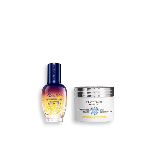 Duo Immortelle Overnight Reset Öl-in-Serum & Leichte Sheabutter Gesichtscreme LSF 15