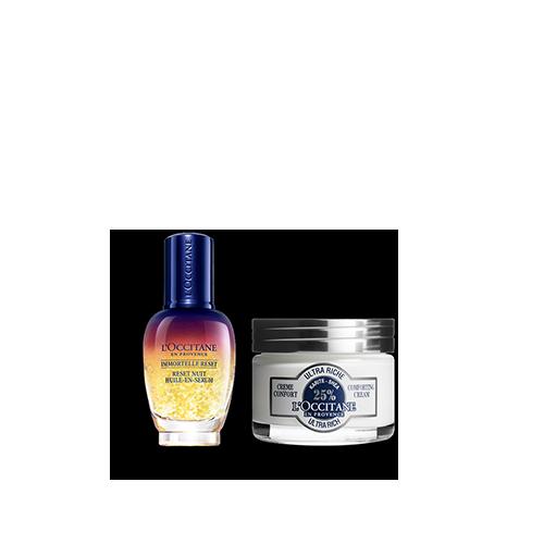 Duo Immortelle Overnight Reset Öl-in-Serum & Sheabutter Ultra Riche Gesichtscreme