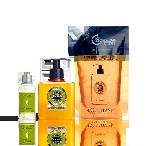 Trio Verbene Hygiene-Handgel & Flüssigseife mit Öko-Nachfüllpackung