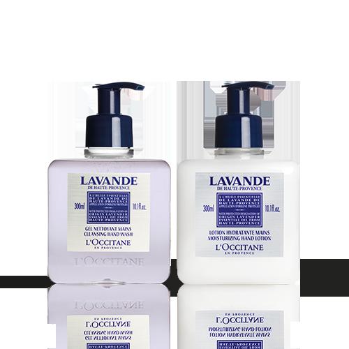 Duo Lavendel Handwaschgel und feuchtigkeitsspendende Lotion für die Hände