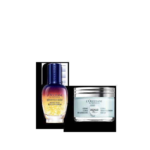 Duo Immortelle Overnight Reset Öl-in-Serum & Aqua Réotier Gesichtscreme