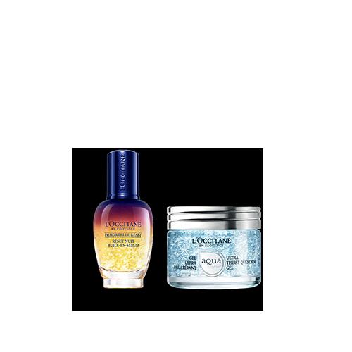 Duo Immortelle Overnight Reset Öl-in-Serum & Aqua Réotier Gesichtsgel