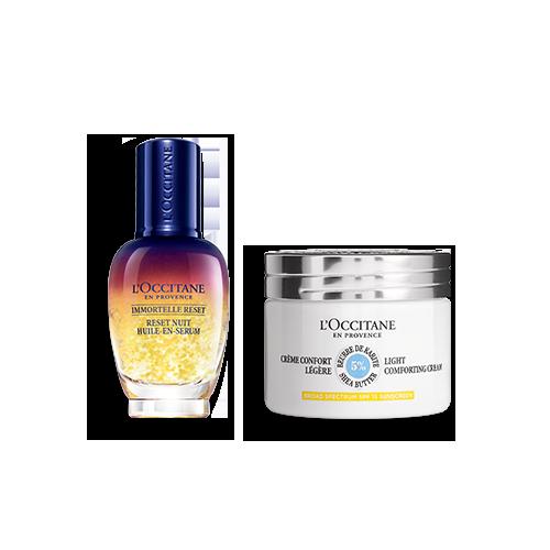 Duo Immortelle Overnight Reset Öl-in-Serum & Leichte Sheabutter Gesichtscreme LSF 15