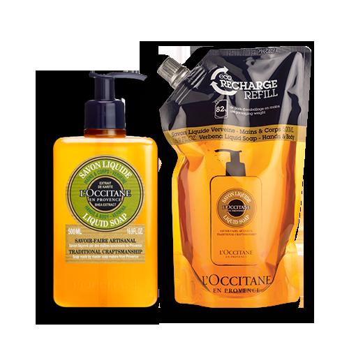 Luxury Size Shea Verbena Hands & Body Liquid Soap Refill Duo