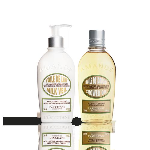 Duo corpo olio doccia e Voile de lait Mandorla