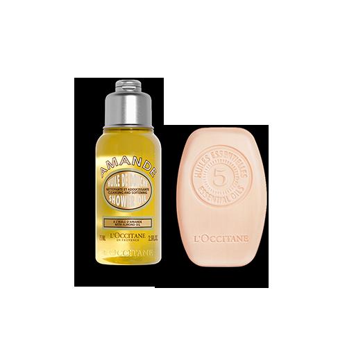 Duo Vaste Shampoo Intense Herstelling 60g en Almond Doucheolie 75ml