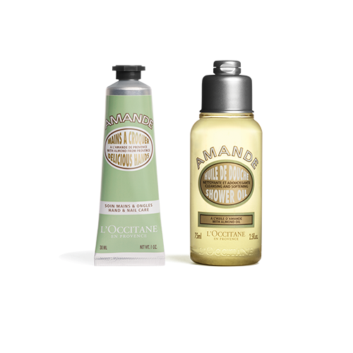 Almond shower oil and hand cream duo
