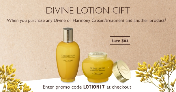 Divine Lotion Gift when you buy a Divine/Harmony Cream or Treatment*