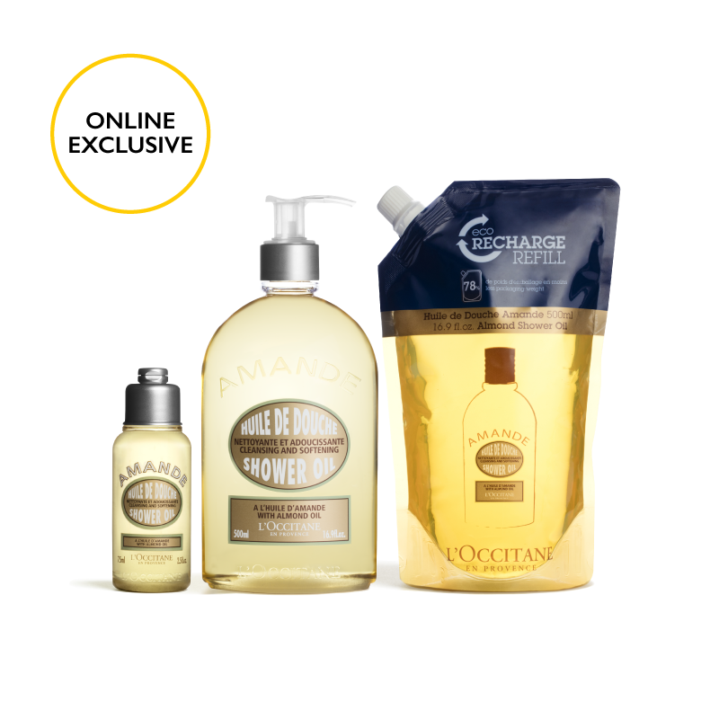 Almond Shower Oil Eco-Refill Bundle