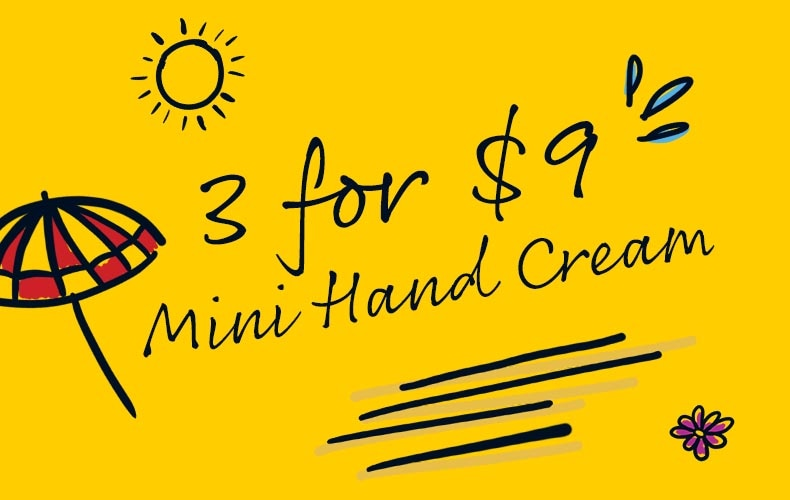 3 for $9 mini hand creams